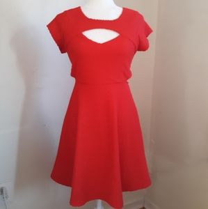 Red Fit & Flare Skater Dress with Cutouts Size M
